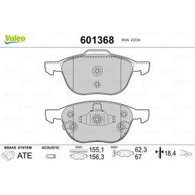 Bremsbelagsatz, Scheibenbremse Breite 1: 155,1mm, Breite 2: 156,3mm, Höhe 1: 62,3mm, Höhe 2: 67mm, Dicke/Stärke 2: 18,4mm mit OEM-Nummer BV61 2001B 3A