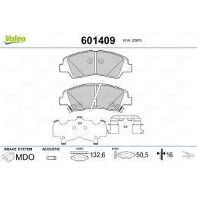 Bremsbelagsatz, Scheibenbremse Breite 1: 132,6mm, Höhe 1: 50,5mm, Dicke/Stärke 1: 16mm mit OEM-Nummer 58101 B9A70