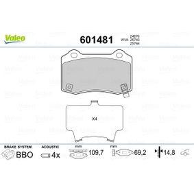 Bremsbelagsatz, Scheibenbremse Breite: 109,7mm, Höhe: 69,2mm, Dicke/Stärke: 14,8mm mit OEM-Nummer 5174 327AB