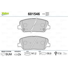 Bremsbelagsatz, Scheibenbremse Breite 2: 141,2mm, Höhe 2: 59,9mm, Dicke/Stärke 2: 17,6mm mit OEM-Nummer 58101A6A20