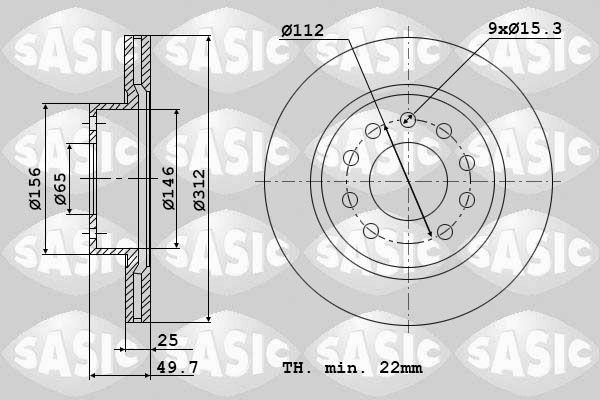 SASIC  6106021 Bremsscheibe Bremsscheibendicke: 25mm, Lochanzahl: 9, Ø: 312mm