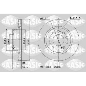 Bremsscheibe Bremsscheibendicke: 25mm, Lochanzahl: 9, Ø: 312mm mit OEM-Nummer 561 615 301 A