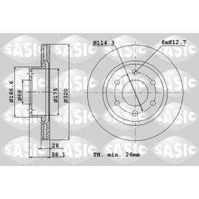 Bremsscheibe Bremsscheibendicke: 28mm, Lochanzahl: 6, Ø: 320mm mit OEM-Nummer 40206-EB320