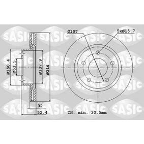 Bremsscheibe Bremsscheibendicke: 32mm, Lochanzahl: 5, Ø: 316mm mit OEM-Nummer 5 312 312