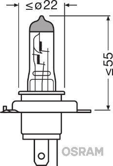 Glödlampa, fjärrstrålkastare 64193XR-01B OSRAM H4 original kvalite