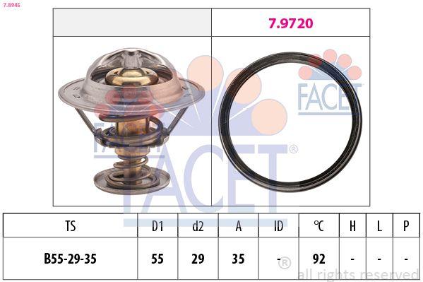 FACET  7.8945 Thermostat, coolant D1: 55mm, D2: 29mm
