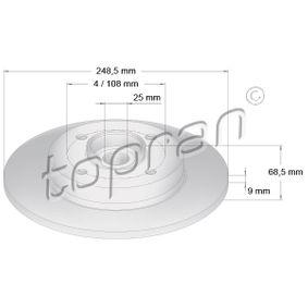 Disco de travão Espessura do disco de travão: 9mm, Jante: 4furos, Ø: 248,5mm com códigos OEM 42.49.34