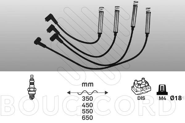 BOUGICORD  7215 Juego de cables de encendido Long.: 350mm, Long.: 450mm, long. 3: 550mm, long. 4: 650mm