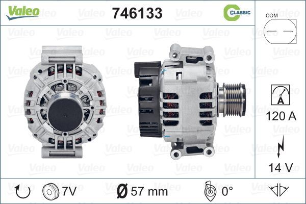 VALEO REMANUFACTURED CLASSIC 746133 Lichtmaschine Rippenanzahl: 7
