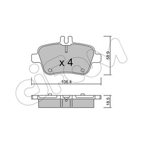 2018 Mercedes W176 A 200 1.6 (176.043) Brake Pad Set, disc brake 822-966-0