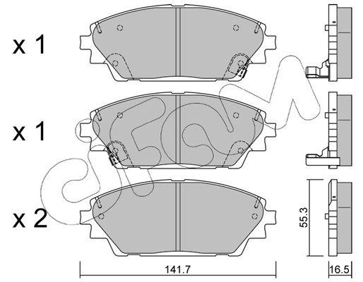 CIFAM  822-992-0 Brake Pad Set, disc brake Thickness 1: 16,5mm
