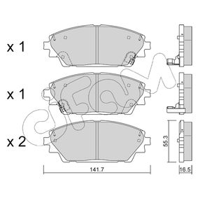 Brake Pad Set, disc brake Thickness 1: 16,5mm with OEM Number BHY1-332-8ZA