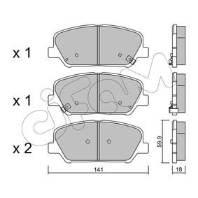Bremsbelagsatz, Scheibenbremse Dicke/Stärke 1: 18,0mm mit OEM-Nummer 58101-2MA00