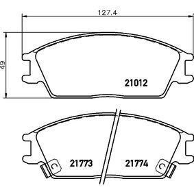 Bremsbelagsatz, Scheibenbremse Breite: 127,4mm, Höhe: 49mm, Dicke/Stärke: 14,8mm mit OEM-Nummer 581011CA00