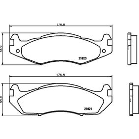 Bremsbelagsatz, Scheibenbremse Breite 1: 177mm, Breite 2: 177mm, Höhe 1: 56mm, Höhe 2: 58mm, Dicke/Stärke: 15,5mm mit OEM-Nummer 21820