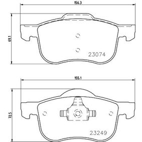 Brake Pad Set, disc brake Width 1: 156,3mm, Width 2 [mm]: 155,2mm, Height 1: 69,1mm, Height 2: 72,5mm, Thickness: 18,9mm with OEM Number 3126250-3