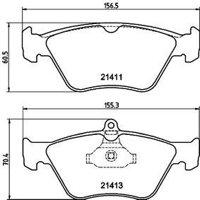Bremsbelagsatz, Scheibenbremse Breite 1: 155,2mm, Breite 2: 156,3mm, Höhe 1: 70,8mm, Höhe 2: 60,6mm, Dicke/Stärke: 17,5mm mit OEM-Nummer 90443873