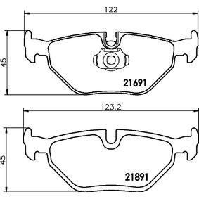 Bremsbelagsatz, Scheibenbremse Breite 1: 121,8mm, Breite 2: 123mm, Höhe 2: 45mm, Dicke/Stärke: 17,3mm mit OEM-Nummer 6 761 281
