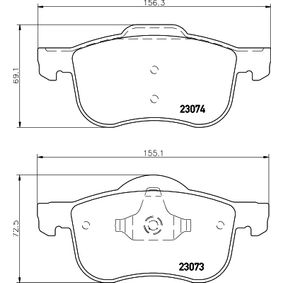 Brake Pad Set, disc brake Width 1: 155,1mm, Width 2 [mm]: 156,3mm, Height 1: 72,5mm, Height 2: 69,1mm, Thickness: 18,9mm with OEM Number 30776712