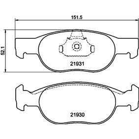 Brake Pad Set, disc brake 8DB 355 009-231 PUNTO (188) 1.2 16V 80 MY 2002