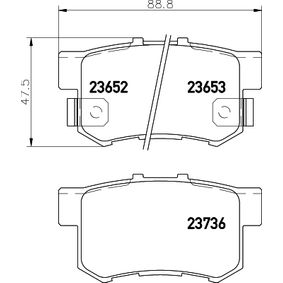 Brake Pad Set, disc brake Width: 88,5mm, Height: 47,5mm, Thickness: 14,8mm with OEM Number 06430S9AA00