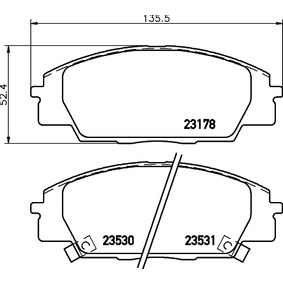 Brake Pad Set, disc brake Width: 135,5mm, Height: 52,4mm, Thickness: 16mm with OEM Number 45022-S2AE-50