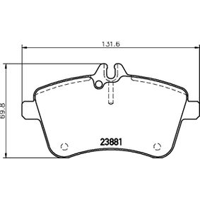 Brake Pad Set, disc brake Width: 131,6mm, Height: 69,8mm, Thickness: 20,1mm with OEM Number A169 420 1920