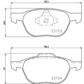 Bremsbelagsatz, Scheibenbremse Breite 1: 155,1mm, Breite 2: 156,3mm, Höhe 1: 62,4mm, Höhe 2: 67mm, Dicke/Stärke: 18,2mm mit OEM-Nummer AV612K021BA