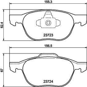 Bremsbelagsatz, Scheibenbremse Breite 1: 155,1mm, Breite 2: 156,3mm, Höhe 1: 62,4mm, Höhe 2: 67mm, Dicke/Stärke: 18,2mm mit OEM-Nummer BPYK3323ZB9C