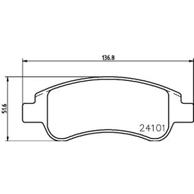 Brake Pad Set, disc brake Width: 136,8mm, Height: 51,1mm, Thickness: 19mm with OEM Number E 172 124