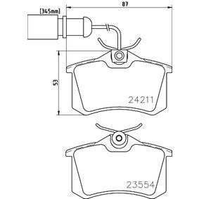 Bremsbelagsatz, Scheibenbremse Breite: 87mm, Höhe: 53mm, Dicke/Stärke: 17,2mm mit OEM-Nummer 8D0698451B