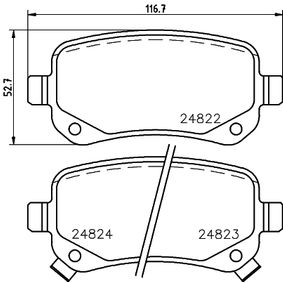 Bremsbelagsatz, Scheibenbremse Breite: 116,7mm, Höhe: 52,7mm, Dicke/Stärke: 17mm mit OEM-Nummer 68029 887AA