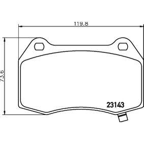 Bremsbelagsatz, Scheibenbremse Breite: 119,8mm, Höhe: 73,6mm, Dicke/Stärke: 14,3mm mit OEM-Nummer 8904 7744