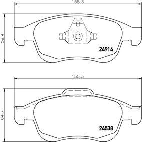 Bremsbelagsatz, Scheibenbremse Breite: 155,2mm, Höhe 1: 59,4mm, Höhe 2: 64,8mm, Dicke/Stärke: 18mm mit OEM-Nummer 4106 003 79R