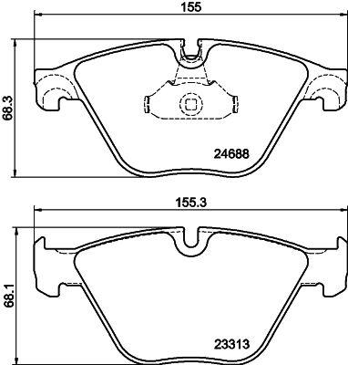 Bremsbeläge 8DB 355 015-261 HELLA 8706D1505 in Original Qualität