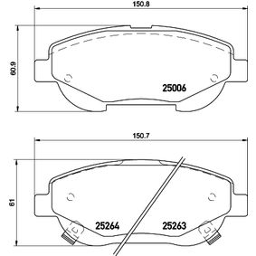 Bremsbelagsatz, Scheibenbremse Breite: 150,8mm, Höhe: 61mm, Dicke/Stärke: 19,3mm mit OEM-Nummer 04465 05 260