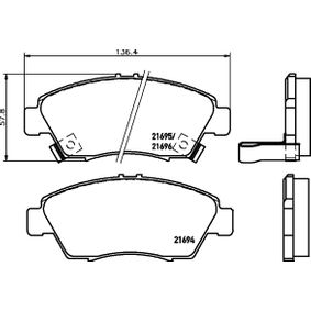 Brake Pad Set, disc brake Width: 136,5mm, Height: 57,8mm, Thickness: 17,3mm with OEM Number 45022-TR2-A01