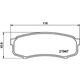 Bremsbelagsatz, Scheibenbremse Breite: 115,9mm, Höhe: 43,9mm, Dicke/Stärke: 15mm mit OEM-Nummer 4605A458