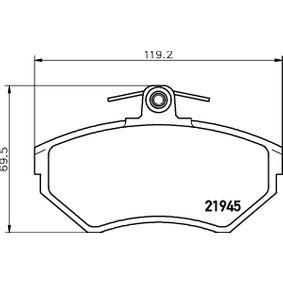 Bremsbelagsatz, Scheibenbremse Breite: 119,2mm, Höhe: 69,5mm, Dicke/Stärke: 16,2mm mit OEM-Nummer 6N0 698 151A