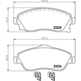 Brake Pad Set, disc brake Width 1: 131,5mm, Width 2 [mm]: 131,5mm, Height 1: 51,4mm, Height 2: 55,4mm, Thickness: 17mm with OEM Number 16 05 317