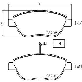 Bremsbelagsatz, Scheibenbremse Breite: 137mm, Höhe: 57,4mm, Dicke/Stärke: 19,0mm mit OEM-Nummer 77 365 623