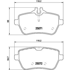 Bremsbelagsatz, Scheibenbremse Breite: 116,2mm, Höhe 1: 65mm, Höhe 2: 54,7mm, Dicke/Stärke: 18,8mm mit OEM-Nummer 008 420 34 20