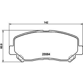 Bremsbelagsatz, Scheibenbremse Breite: 141,8mm, Höhe: 60,9mm, Dicke/Stärke: 15,8mm mit OEM-Nummer 25564 HELLA