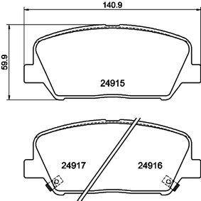 Bremsbelagsatz, Scheibenbremse Breite: 140,7mm, Höhe: 59,9mm, Dicke/Stärke: 17,3mm mit OEM-Nummer 58101 2TA20