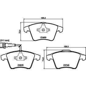 Brake Pad Set, disc brake Width 1: 155,1mm, Width 2 [mm]: 156,3mm, Height 1: 73,3mm, Height 2: 74,8mm, Thickness 1: 20,1mm, Thickness 2: 18,8mm with OEM Number 7L6 698 151F