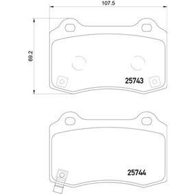 Bremsbelagsatz, Scheibenbremse Breite: 107,5mm, Höhe: 69,2mm, Dicke/Stärke: 14,7mm mit OEM-Nummer 68144 432AA
