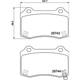 Bremsbelagsatz, Scheibenbremse Breite: 107,5mm, Höhe: 69,2mm, Dicke/Stärke: 14,7mm mit OEM-Nummer 1055068-00-B