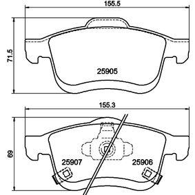 Bremsbelagsatz, Scheibenbremse Breite: 155,4mm, Höhe: 71,5mm, Dicke/Stärke: 20,2mm mit OEM-Nummer 68211488AA