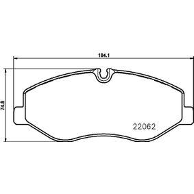 Bremsbelagsatz, Scheibenbremse Breite: 184,1mm, Höhe: 74,8mm, Dicke/Stärke: 20,8mm mit OEM-Nummer A 447 421 0800
