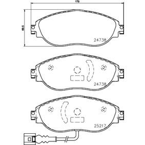 Brake Pad Set, disc brake Width: 175mm, Height: 69,5mm, Thickness: 20mm with OEM Number 5Q0698151K